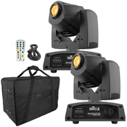 (2) Chauvet DJ Intimidator Spot 155 Bright Compact LED Moving Heads with Remote & Case Package