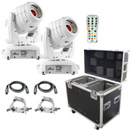 (2) Chauvet DJ Intimidator Spot 355 IRC Feature Packed Moving Heads in White & ProX Road Cases Package