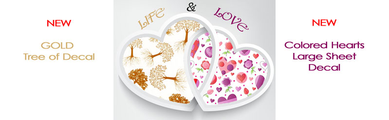 New  Gold & Heart Fusible Decal
