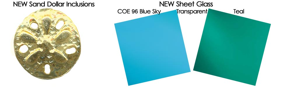 New Sand Dollar Inclusion, Sky Blue & Teal COE 96 Sheet Glass