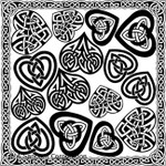 "LOW to HI FIRE Celtic Hearts (Lead Free) Black Enamel Fusible Decal (4"" x 4"")"