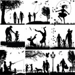 "LOW to HI FIRE Family Silhouettes (Lead Free) Black Enamel Fusible Decal (4"" x 4"")"