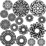 "LOW to HI FIRE Pendant Circles Abstract Designs (Lead Free) Black Enamel Fusible Decal (4"" x 4"")"