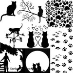"LOW to HI FIRE Cat Silhouettes (Lead Free) Black Enamel Fusible Decal (4"" x 4"")"