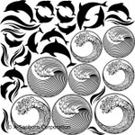 "LOW to HI FIRE Dolphins & Waves (Lead Free) Black Enamel Fusible Decal (4"" x 4"")"