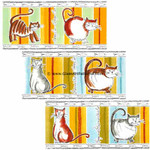 "LOW to HI FIRE Colored: Coaster Size Fat Cats Qty 6 (Large 3 1/2"" H x 8 1/2 "" Wide Decal)"