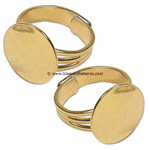 Adjustable Ring Blank, Gold Plated, Triple Line Pattern, 16 mm Pad (Qty 2)