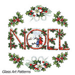 Colored: Christmas NOEL Holly Leaves Ornament (Fused Glass Decal)