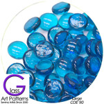 COE 90 Fusible Glass Pebbles: BLUE TURQUOISE LOGHT Transparent 1/2 inch (12.7 mm) Qty 25
