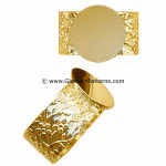 Adjustable Ring Blank, Gold 24k Plated, Flowered Pattern, 16 mm Pad