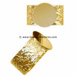 Adjustable Ring Blank, Gold 24k Plated, Flowered Pattern, 12 mm Pad