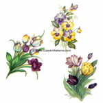 LOW to HI FIRE Colored: Tulips & Pansies Decal (Fused Glass Decal) Qty 2 of each