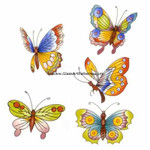 LOW to HI FIRE Colored: Butterflies II, 2 sets of 5 (Fused Glass Decal)