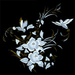 White: Flowers-Humming Birds with Gold Accents (Fused Glass Decal) Qty 2