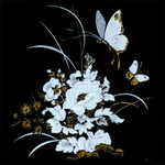 White: Flowers-Butterflies with Gold Accents (Fused Glass Decal) Qty 2