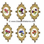 Colored Flowers surrounded by a Gold Lacey Medallion Edge, Oval (Fused Glass Decal) Set of 6