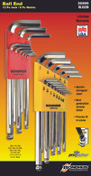 "Set 22 Briteguard Ball End L-Wrenches In/Mm Double Pack - 16937 (.050-3/8"") + 16999 (1.5-10Mm) - 26999 - Quantity: 1"