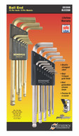 "Set 22 Briteguard And Goldguard Ball End L-Wrenches In/Mm Double Pack - 26937 (.050-3/8"") + 38099 (1.5-10Mm) - 20399 - Quantity: 1"