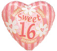 Sweet 16 Striped Heart