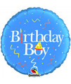 "18"" Qualatex Happy Birthday Boy Foil Balloon"