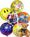Plush Bear with Half Dozen Get Well Balloons