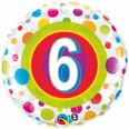 "18"" Round Foil Age 6 Colorful Dots"