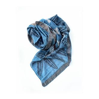 blue green indigo hand block printed square scarf
