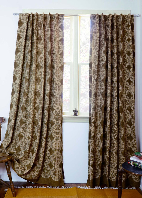 brown printed curtains