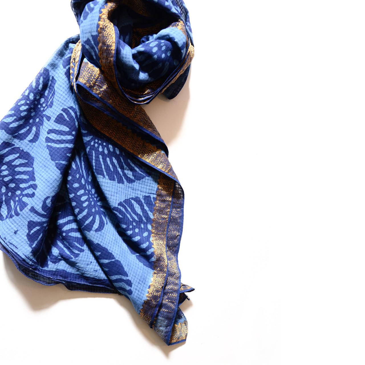 indigo block print scarf woven cotton ichcha