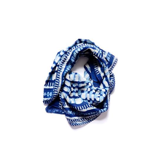 block printed indigo dyed scarf by Azu