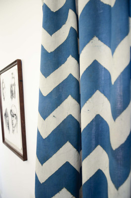 teal chevron curtains - block printed