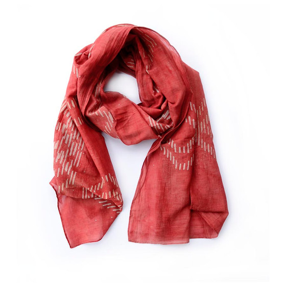 red block print ikat scarf