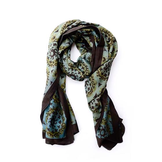 cotton silk suzani pattern scarf