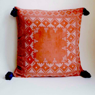 bohemian pillow with indigo tassels