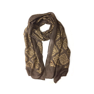 Phool - Block Print Brown Scarf