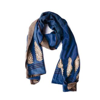 block printed indigo scarf