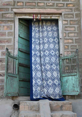 blue and white window curtain panels