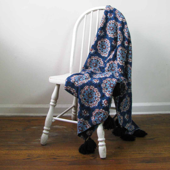 kantha quilted blue throw