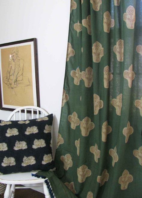 green boho style window curtains