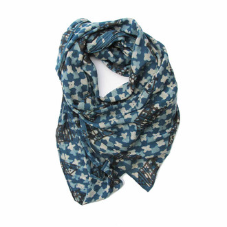mosaic indigo scarf