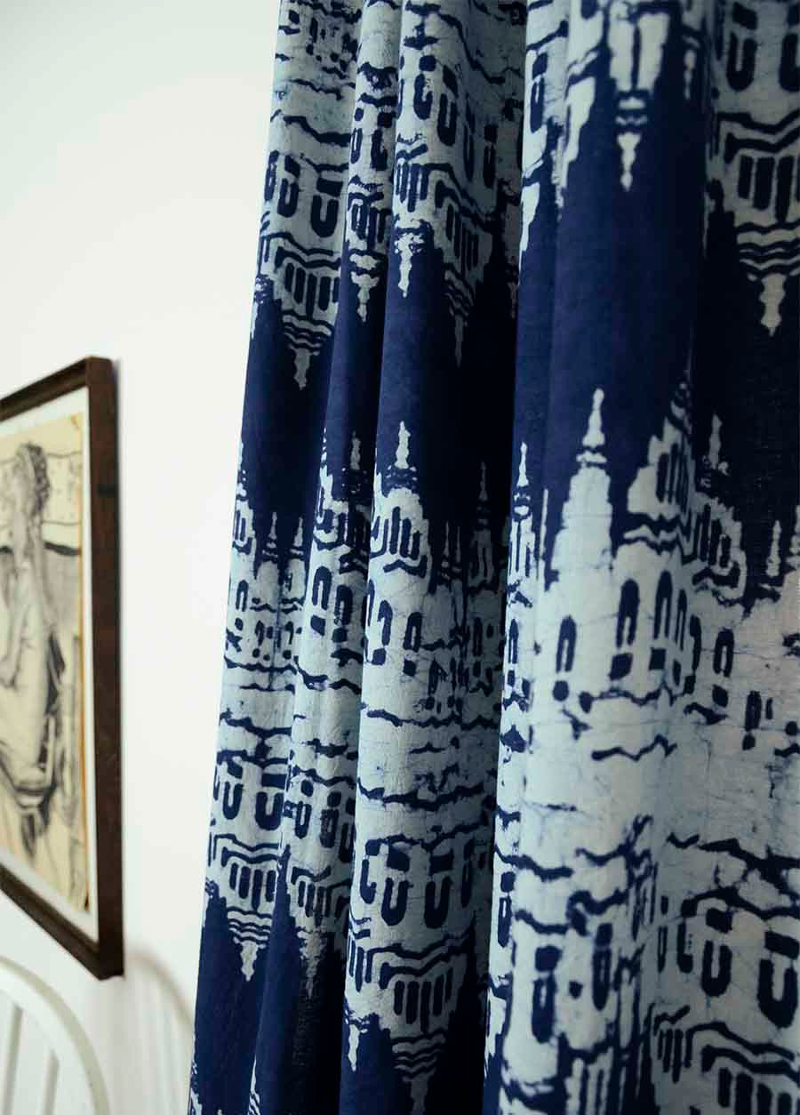 Blue Indigo Ikat Curtains. Indigo Curtains. Image 5. See 4 More Pictures