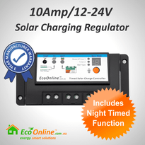 10Amp EcoOnline Night Timed Solar Charge Controller/Regulator (for Solar Charging Lead-Acid Batteries)
