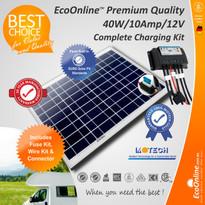 Solar Battery Charging Kit - 40W Solar Panel + 10Amp EcoOnline Controller/Regulator