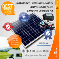 Solar Battery Charging Kit - 60W Solar Panel + 10Amp EcoOnline Controller/Regulator