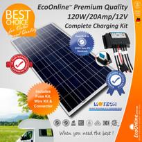 Solar Battery Charging Kit - 120W Solar Panel + 20Amp EcoOnline Controller/Regulator
