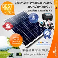 Complete Battery Charging Kit - 100W Solar Panel + 10Amp Regulator Controller