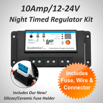 10Amp EcoOnline Night Timed Solar Charge Controller/Regulator Kit (for Solar Charging Lead-Acid Batteries)