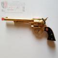 RARE Vintage 1952 Hubley Cowboy Cap Gun w/ Gold-Tone Finish & Black Steer-head Grips
