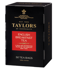 Taylors of Harrogate English Breakfast Teabags 50- English style tea bags - larger than tagged tea bags - not wrapped.