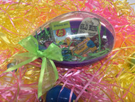 Kids' assortment Easter candy in a plastic reusable egg, with bow